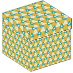 White Blue Triangles Pattern Storage Stool