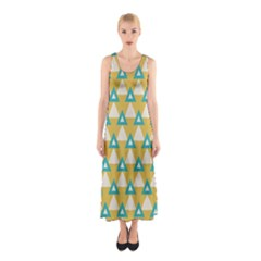 White blue triangles pattern Full Print Maxi Dress