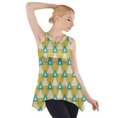 White blue triangles pattern Side Drop Tank Tunic