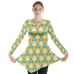 White blue triangles pattern Long Sleeve Tunic