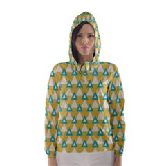 White blue triangles pattern Hooded Wind Breaker (Women)