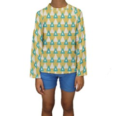 White blue triangles pattern  Kid s Long Sleeve Swimwear