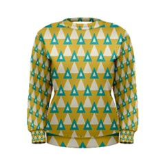 White Blue Triangles Pattern  Women s Sweatshirt