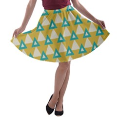 White blue triangles pattern A-line Skater Skirt