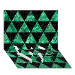 Triangle3 Black Marble & Green Marble Love Bottom 3d Greeting Card (7x5)