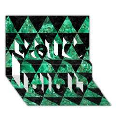 Triangle3 Black Marble & Green Marble You Did It 3d Greeting Card (7x5)