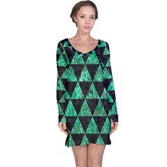 Triangle3 Black Marble & Green Marble Long Sleeve Nightdress