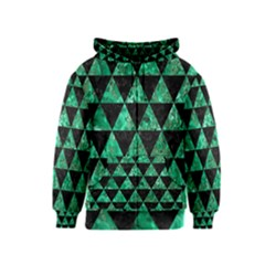 Triangle3 Black Marble & Green Marble Kids  Zipper Hoodie