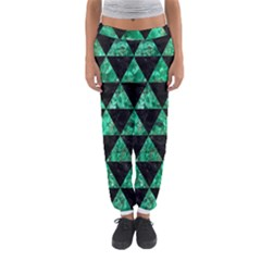 Triangle3 Black Marble & Green Marble Women s Jogger Sweatpants
