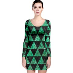 Triangle3 Black Marble & Green Marble Long Sleeve Velvet Bodycon Dress