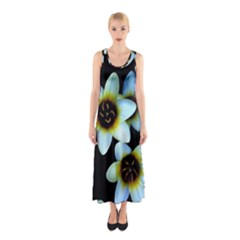 Light Blue Flowers On A Black Background Full Print Maxi Dress