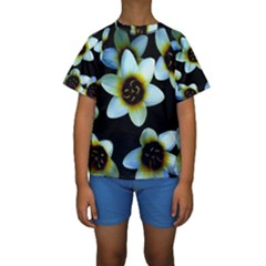 Light Blue Flowers On A Black Background Kid s Short Sleeve Swimwear