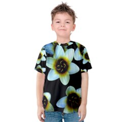 Light Blue Flowers On A Black Background Kid s Cotton Tee