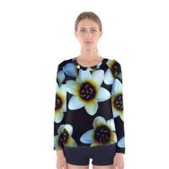 Light Blue Flowers On A Black Background Women s Long Sleeve Tee