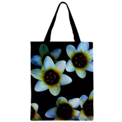 Light Blue Flowers On A Black Background Zipper Classic Tote Bags