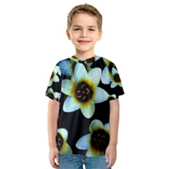 Light Blue Flowers On A Black Background Kid s Sport Mesh Tee
