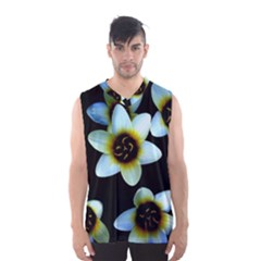 Light Blue Flowers On A Black Background Men s Basketball Tank Top