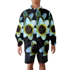 Light Blue Flowers On A Black Background Wind Breaker (Kids)