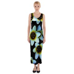 Light Blue Flowers On A Black Background Fitted Maxi Dress