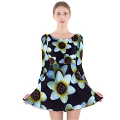 Light Blue Flowers On A Black Background Long Sleeve Velvet Skater Dress