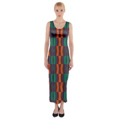 Green Orange Shapes Pattern Fitted Maxi Dress