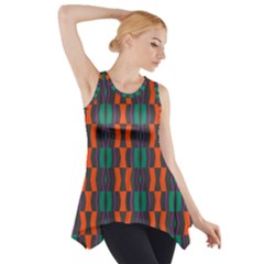 Green orange shapes pattern Side Drop Tank Tunic