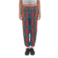 Green orange shapes pattern Women s Jogger Sweatpants
