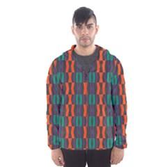 Green orange shapes pattern Mesh Lined Wind Breaker (Men)