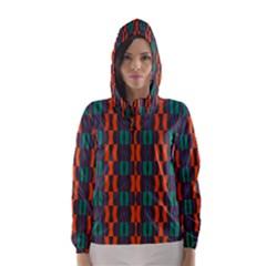 Green orange shapes pattern Hooded Wind Breaker (Women)