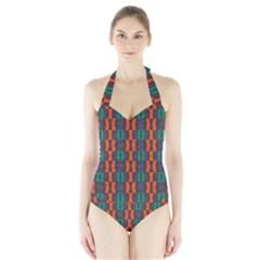 Green orange shapes pattern Women s Halter One Piece Swimsuit
