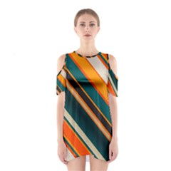 Diagonal Stripes In Retro Colors Women s Cutout Shoulder Dress