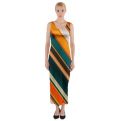 Diagonal Stripes In Retro Colors Fitted Maxi Dress