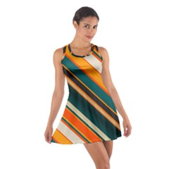Diagonal Stripes In Retro Colors Cotton Racerback Dress