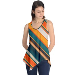 Diagonal stripes in retro colors Sleeveless Tunic