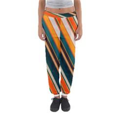 Diagonal Stripes In Retro Colors Women s Jogger Sweatpants
