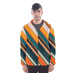 Diagonal stripes in retro colors Mesh Lined Wind Breaker (Men)