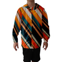 Diagonal stripes in retro colors Hooded Wind Breaker (Kids)