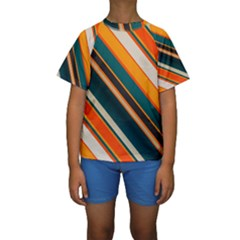 Diagonal stripes in retro colors  Kid s Short Sleeve Swimwear