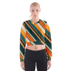 Diagonal stripes in retro colors   Women s Cropped Sweatshirt