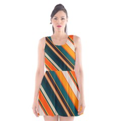 Diagonal Stripes In Retro Colors Scoop Neck Skater Dress