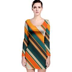 Diagonal stripes in retro colors Long Sleeve Velvet Bodycon Dress