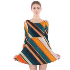 Diagonal stripes in retro colors Long Sleeve Velvet Skater Dress