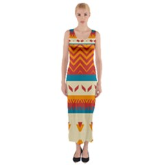 Tribal Shapes  Fitted Maxi Dress