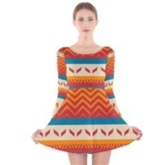 Tribal shapes  Long Sleeve Velvet Skater Dress