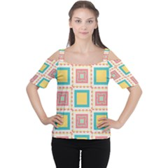 Pastel squares pattern Women s Cutout Shoulder Tee
