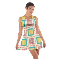 Pastel squares pattern Cotton Racerback Dress