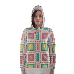 Pastel squares pattern Hooded Wind Breaker (Women)