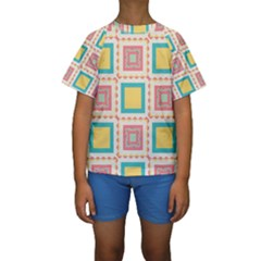 Pastel squares pattern  Kid s Short Sleeve Swimwear