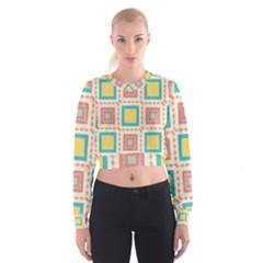 Pastel Squares Pattern   Women s Cropped Sweatshirt