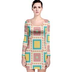Pastel squares pattern Long Sleeve Velvet Bodycon Dress